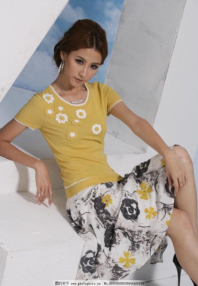 尚婕夏季女装      模特 黄色衣服 休闲女装 摄影素材 服装素材 尚婕
