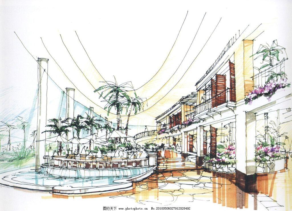 室内设计手绘效果图 室内 酒店 过厅 景观 设计 手绘
