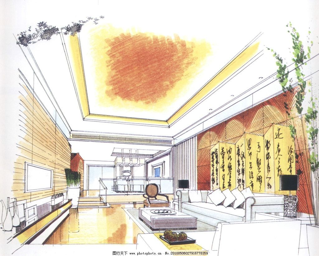 室内设计手绘效果图 室内      过厅 沙发 手绘        室内设计 环境