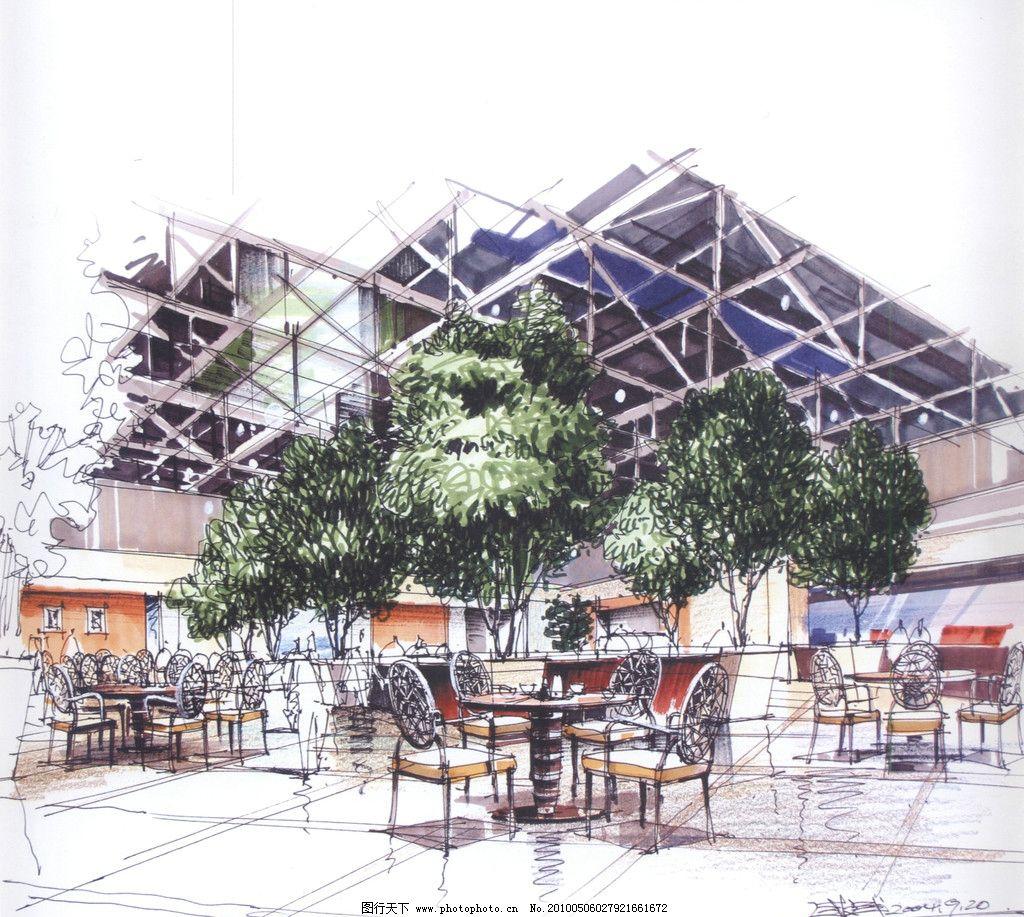 室内设计手绘效果图 室内 餐厅 餐桌 植物 树木 设计 手绘