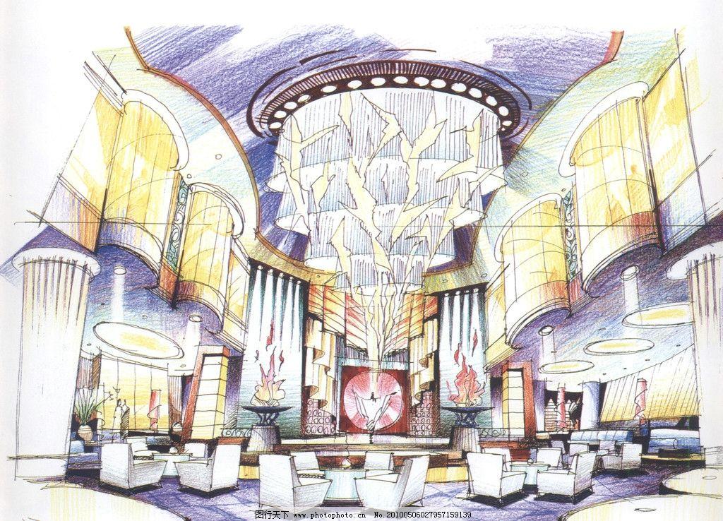 室內設計手繪效果圖 室內 酒店 大堂 沙發 水晶吊燈 手繪