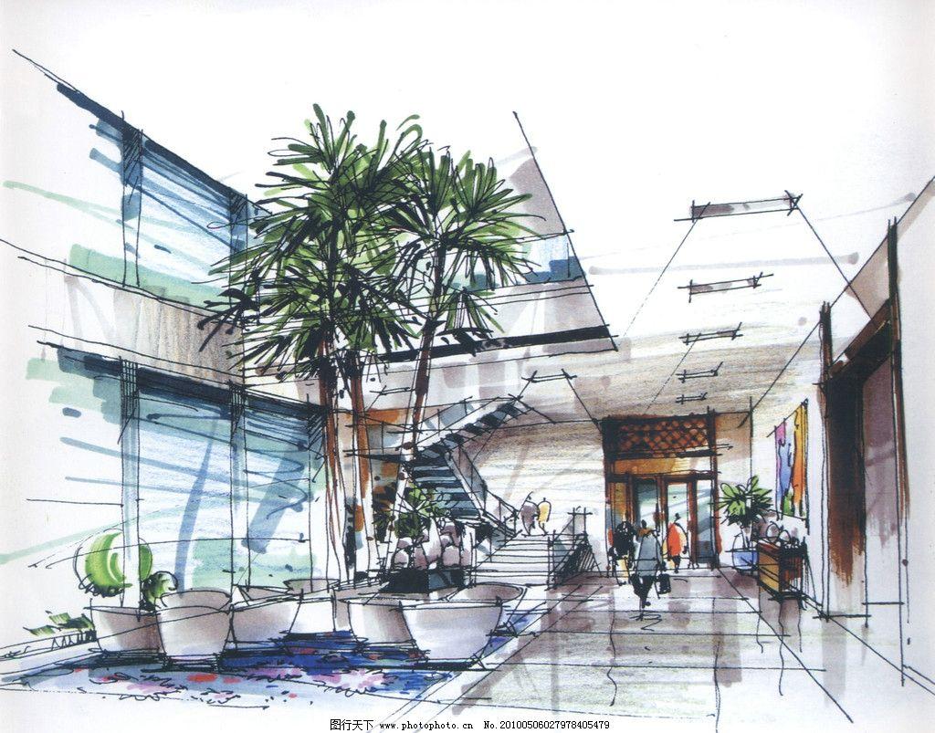室内设计手绘效果图 室内 酒店 过厅 沙发 设计 手绘