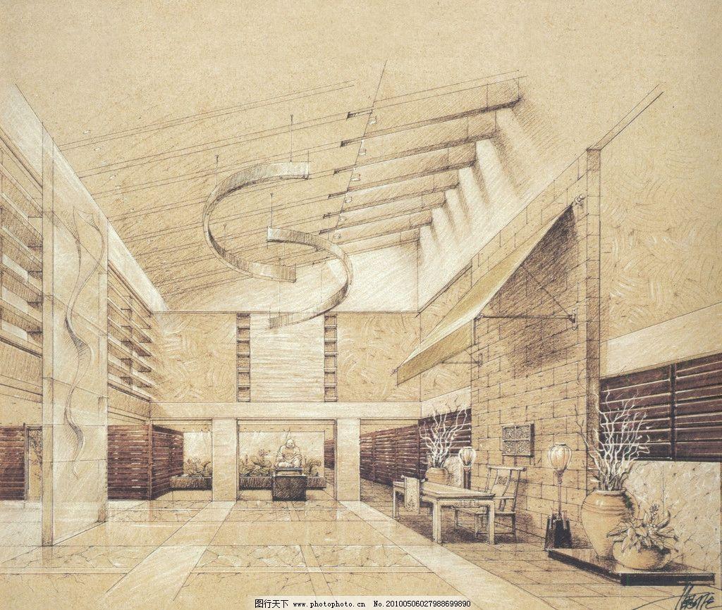 室内设计手绘效果图 室内 酒店 大堂 过厅 中式 单色 设计 手绘