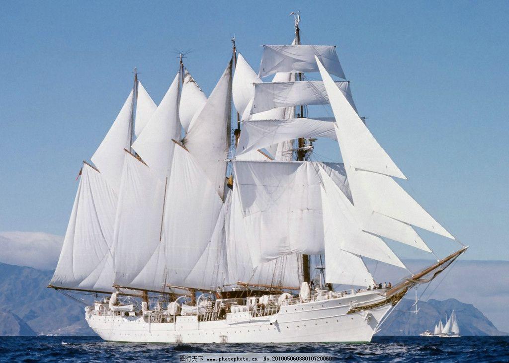 一帆风顺 帆船 大海 海水 天空 蓝天 白云 交通工具 现代科技 摄影 10
