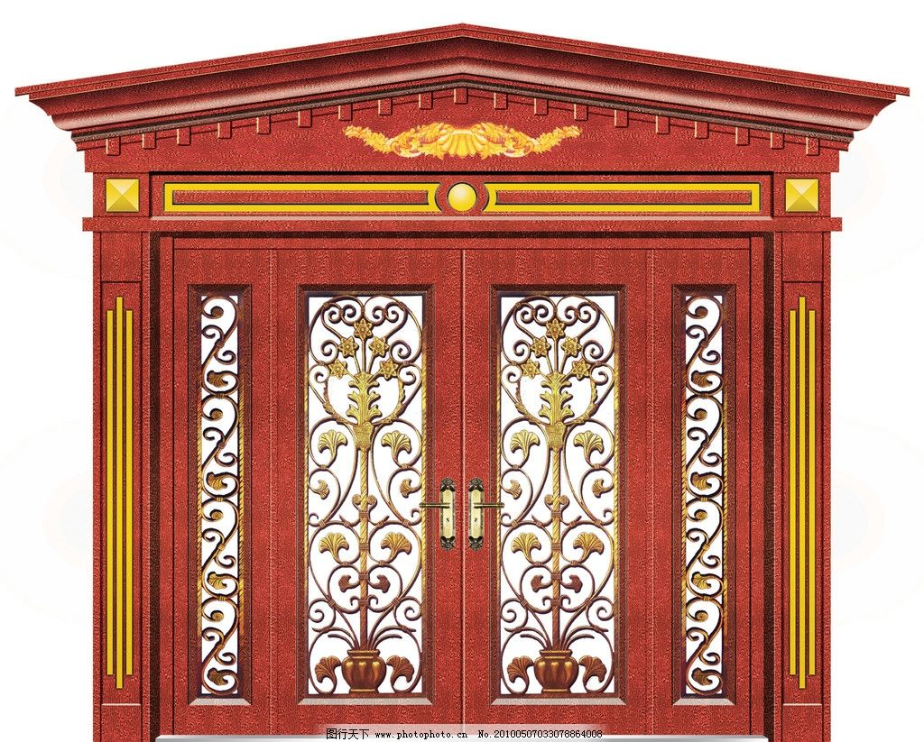 欧式罗马柱四开门图片