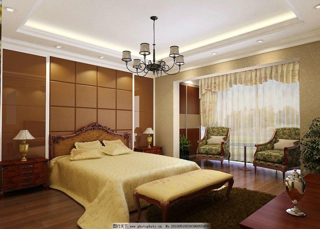 摄影图库 建筑园林 室内摄影  简欧卧室效果图 欧式吊灯 欧式双人床