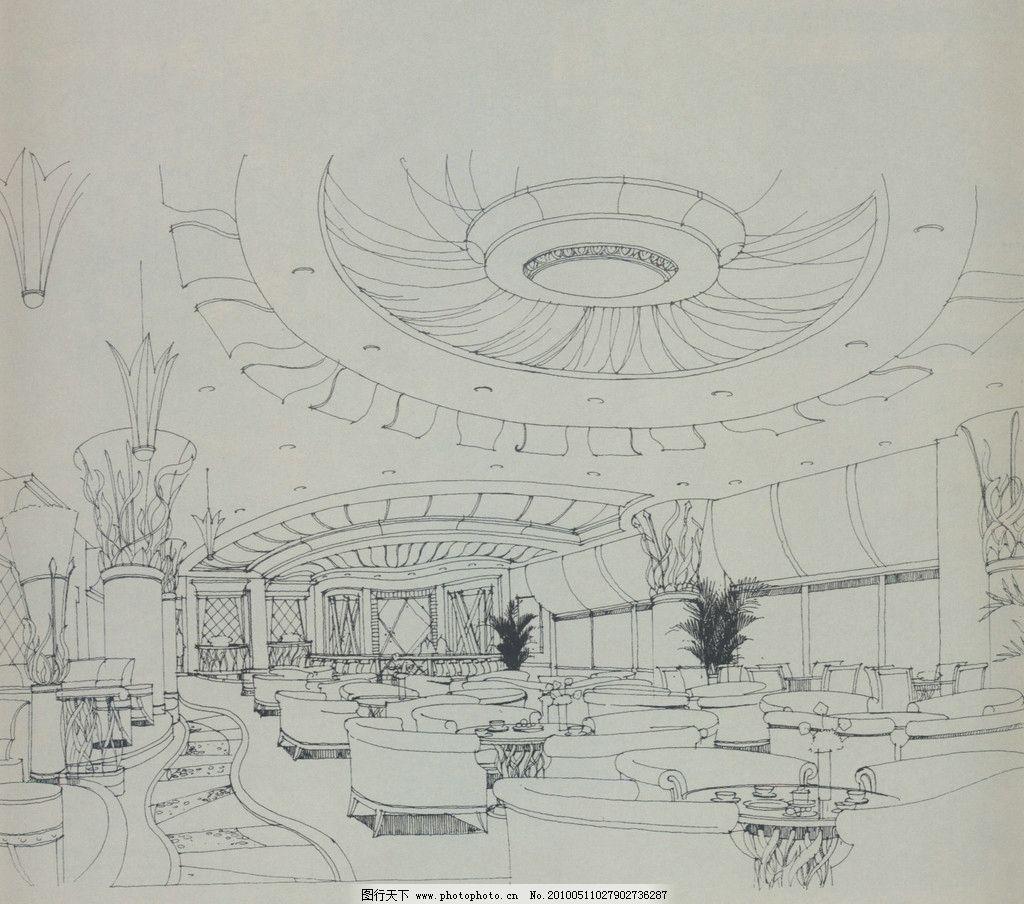室内设计手绘效果图 室内 酒店 过厅 沙发 设计 手绘 单色