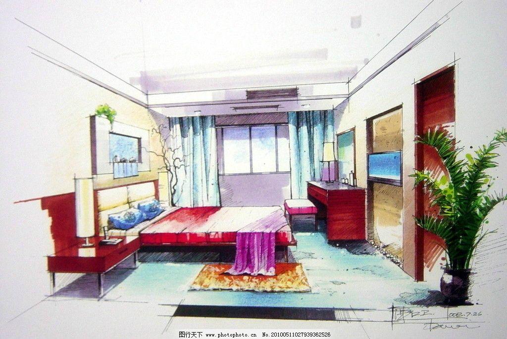 室内设计手绘效果图 卧室 床 柜子 资料
