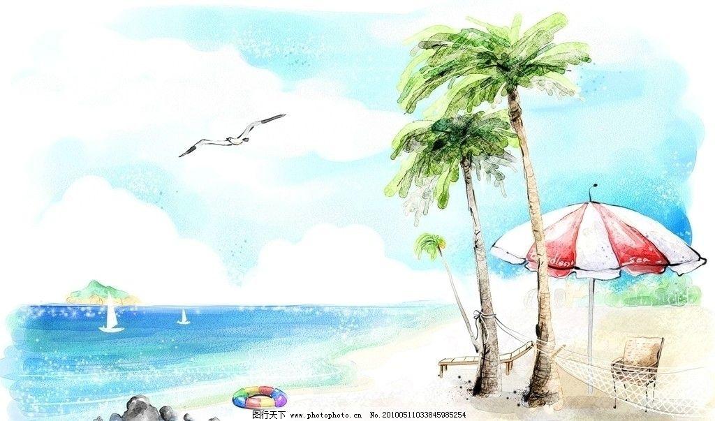 手绘壁纸 壁纸 壁纸设计 海边 海鸥 椰树 帐篷 水易之家 图片素材