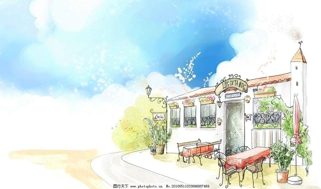 手绘壁纸 壁纸设计 海边 咖啡屋 水易之家 图片素材