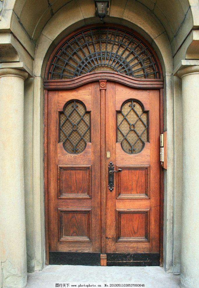 复古大门 复古 欧式 大门 拱券 门拱 木门 复古童话素材 国外旅游