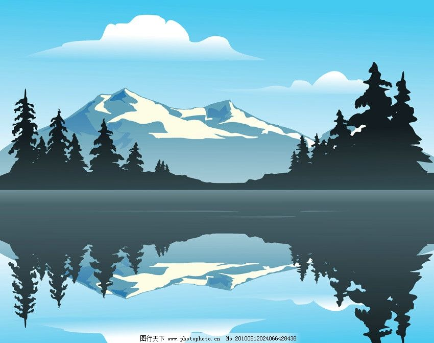 湖光山色矢量素材图片