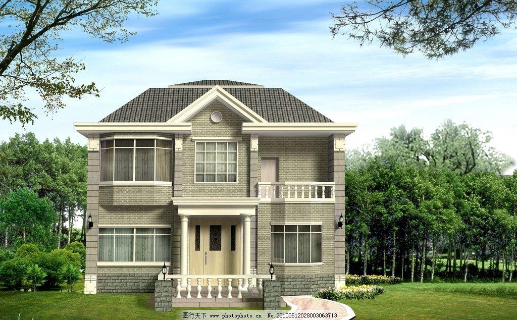 別墅設計 裝飾設計 建筑造型 別墅外觀 草地 樹林 石板路 花草