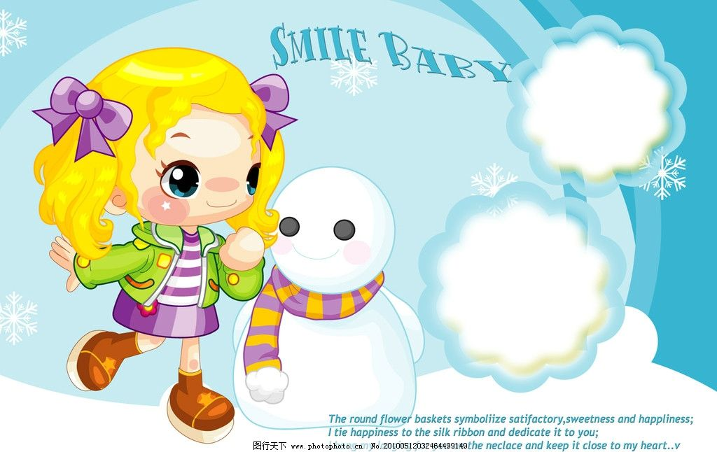 可爱宝贝 黄发小姑娘 雪人蓝色背景
