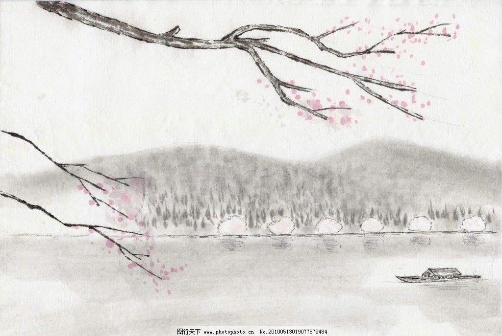 水墨山水 桃花 山水 风景 船只 湖面 树林 绘画书法 文化艺术 设计 96