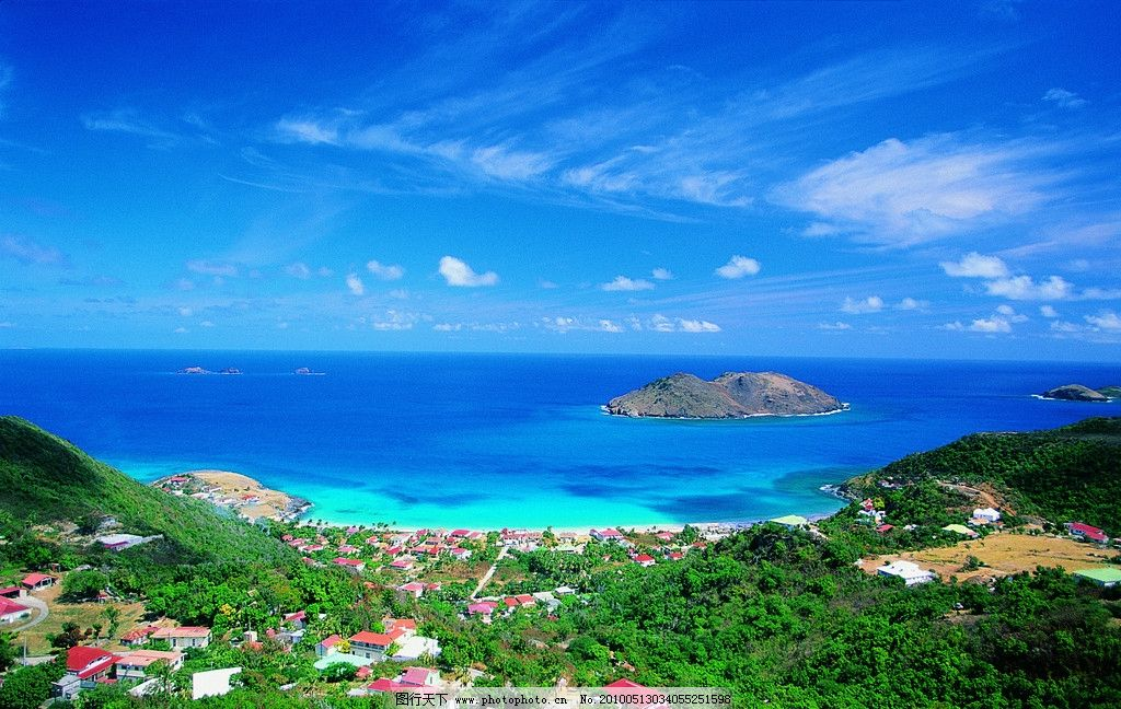 夏威夷风光 海边别墅 岛屿 岛礁 欧式建筑 海景 大海 清澈的海水
