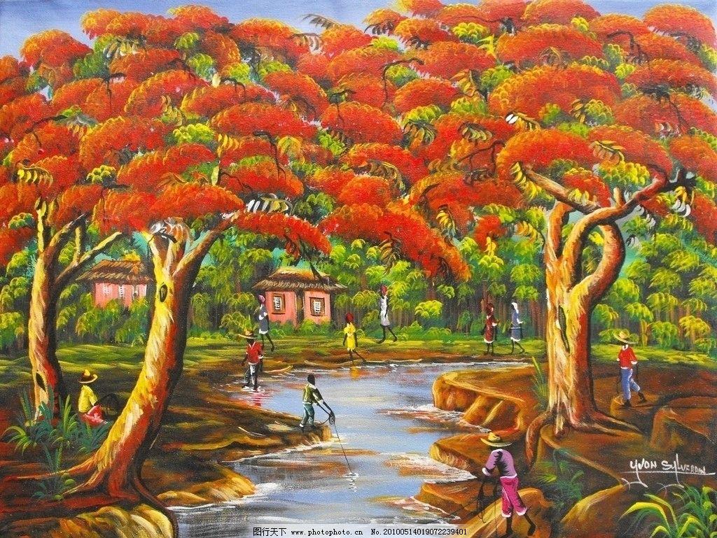 赤树水榭 大树 树木 树林 溪流 小河 河水 手绘 挂画 装饰画 无框画
