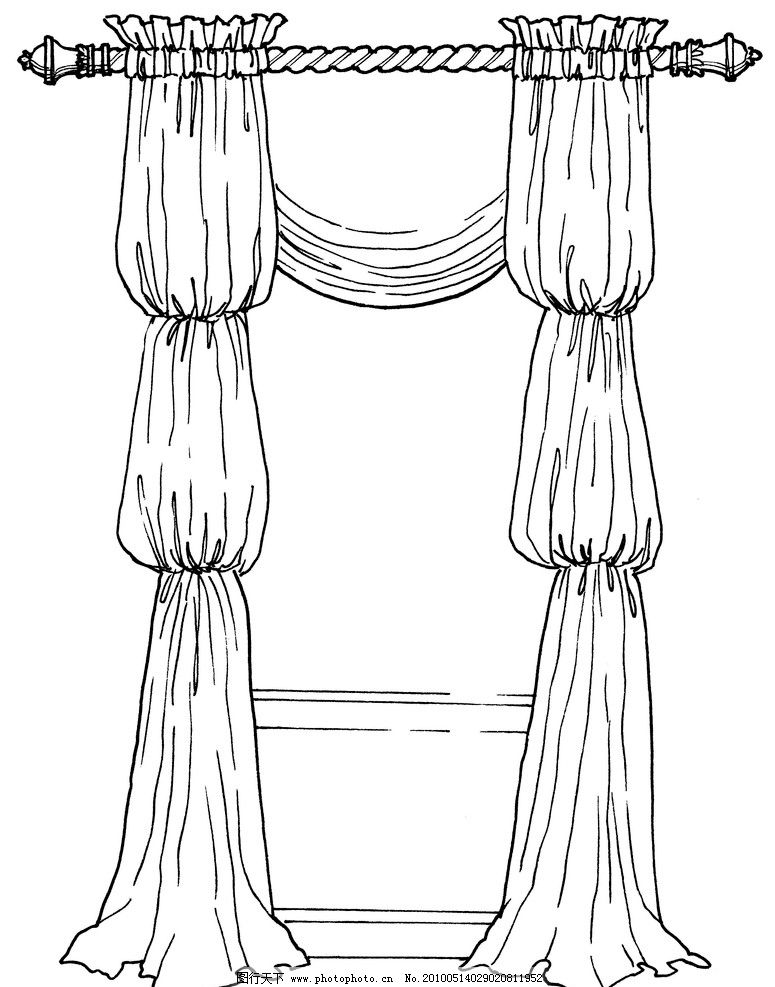 漂亮的窗帘简笔画