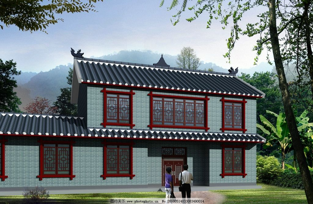 仿古住宅 仿古砖 青砖 青瓦 木结构 红色 住宅建筑 psd分层素材 源