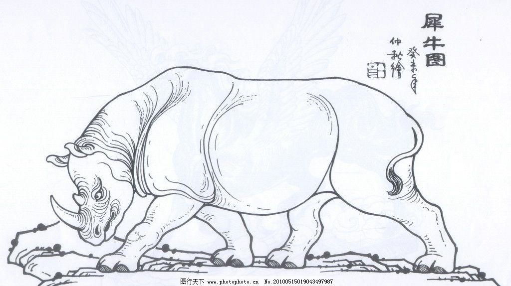 犀牛图 犀牛 线描 工笔画 黑白 白描 线条 陈金莺 矢量 陈金莺工笔