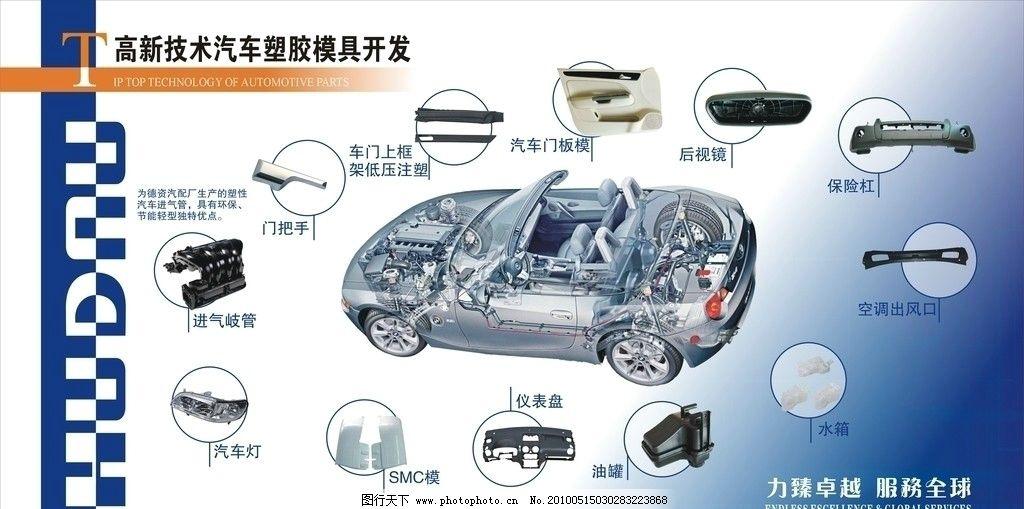 展板设计 蓝色背景 汽车模具 汽车解剖图 矢量图 广告设计 cdr 展板