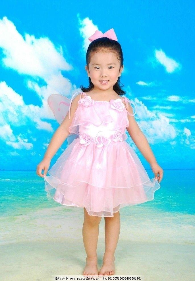 童真 儿童 美少女 天真 活泼 可爱 婚纱 小天使 小公主 蓝天