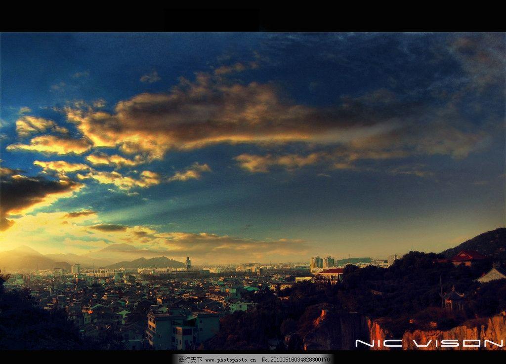 夕阳 城市 自然风景 自然景观 摄影 100dpi jpg