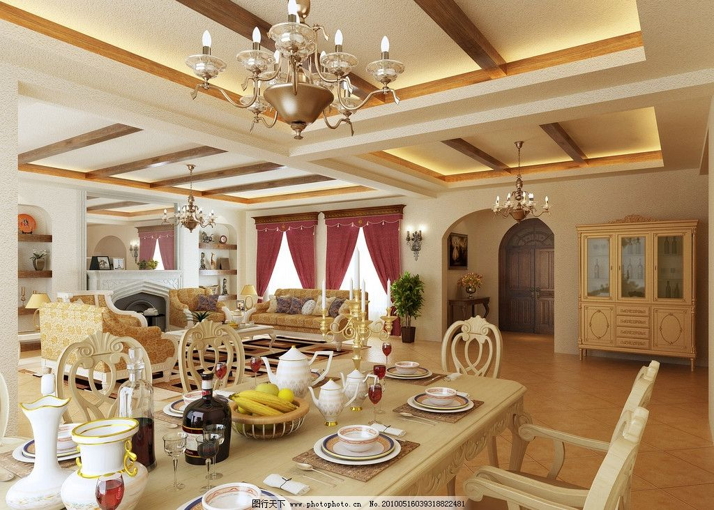 摄影图库 建筑园林 室内摄影  欧式客厅 欧式风格客厅 欧式 沙发 窗帘
