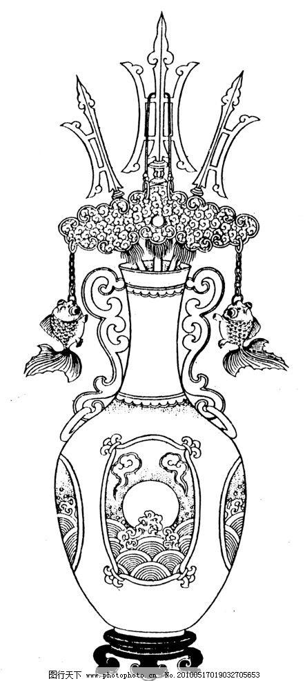 白色花瓶图案手绘古风