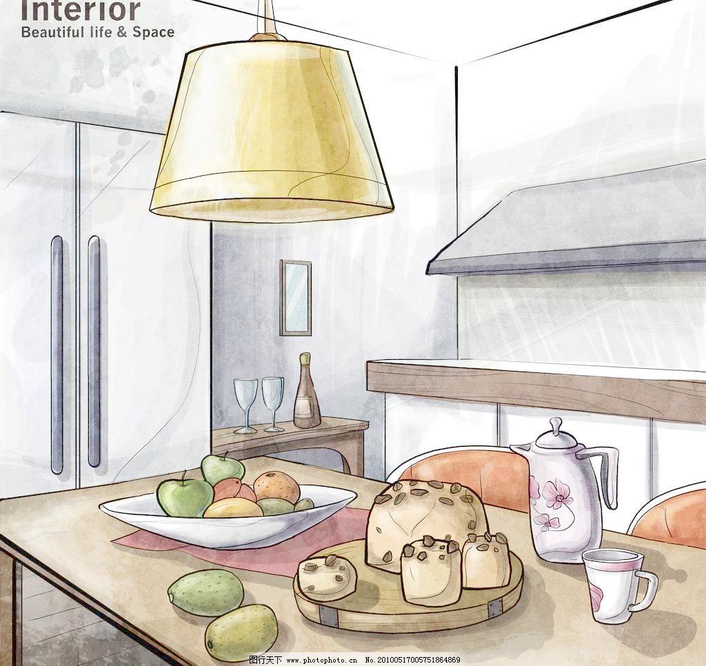 手绘室内装饰 杯子 点心 手绘风格 台灯 源文件 手绘室内装饰素材下载
