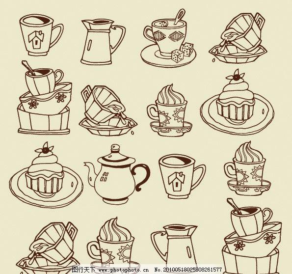 咖啡 咖啡杯 茶壶 器皿 点心 蛋糕 雪糕 棒棒糖 心形 饮品 饮食 矢量