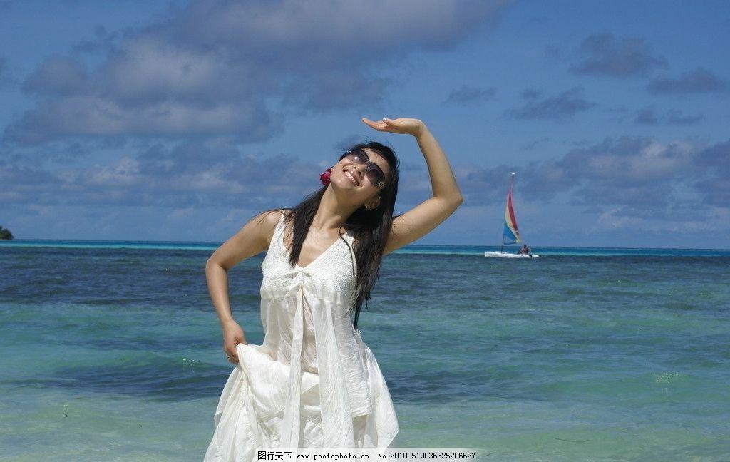 白静 马尔代夫 海边 写真 中戏02级表演系 明星偶像 人物图库 摄影 72