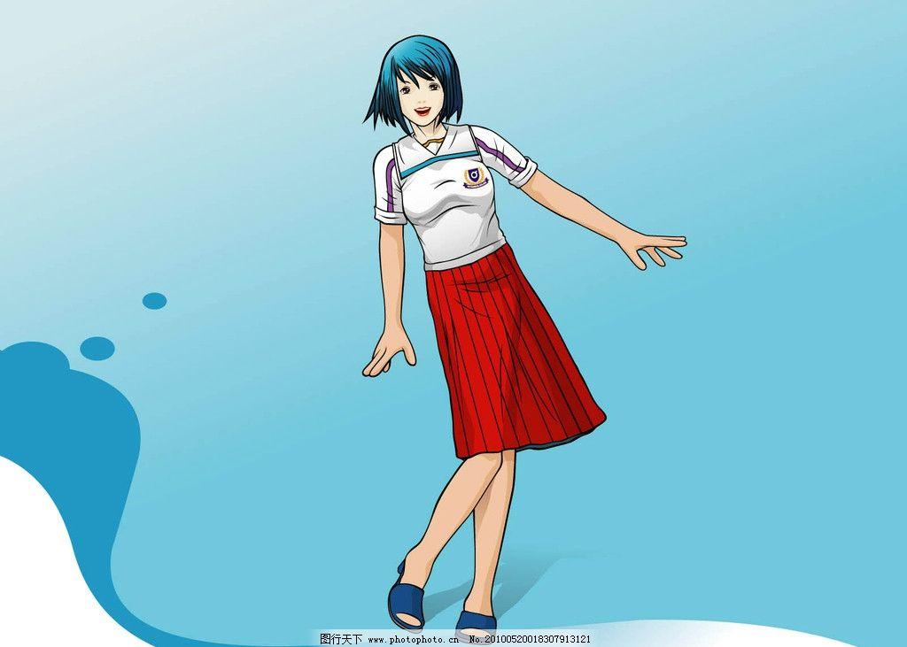 手绘美女 时尚女孩 漫画人物 红裙女孩 女性 女人 动漫动画