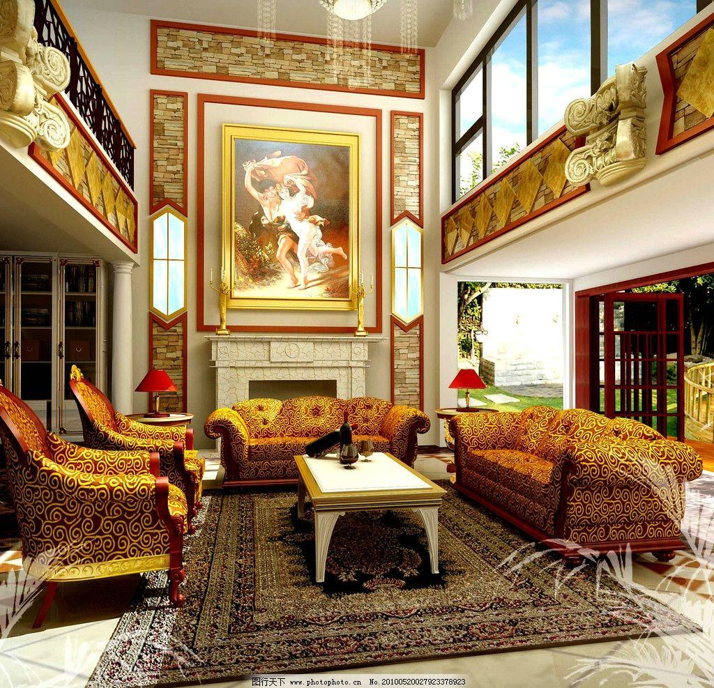 吸顶灯 台灯 沙发 地毡 挂画 门 窗 明亮 艺术品 植物 欧式设计 室内