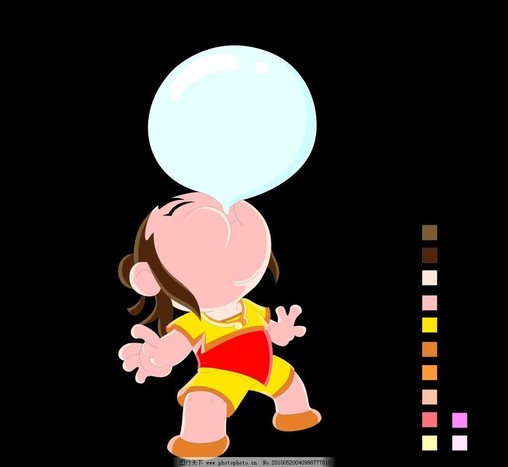 卡通 矢量 儿童 泡泡 吹泡泡 红色 小孩 幼儿 儿童幼儿 矢量人物 cdr