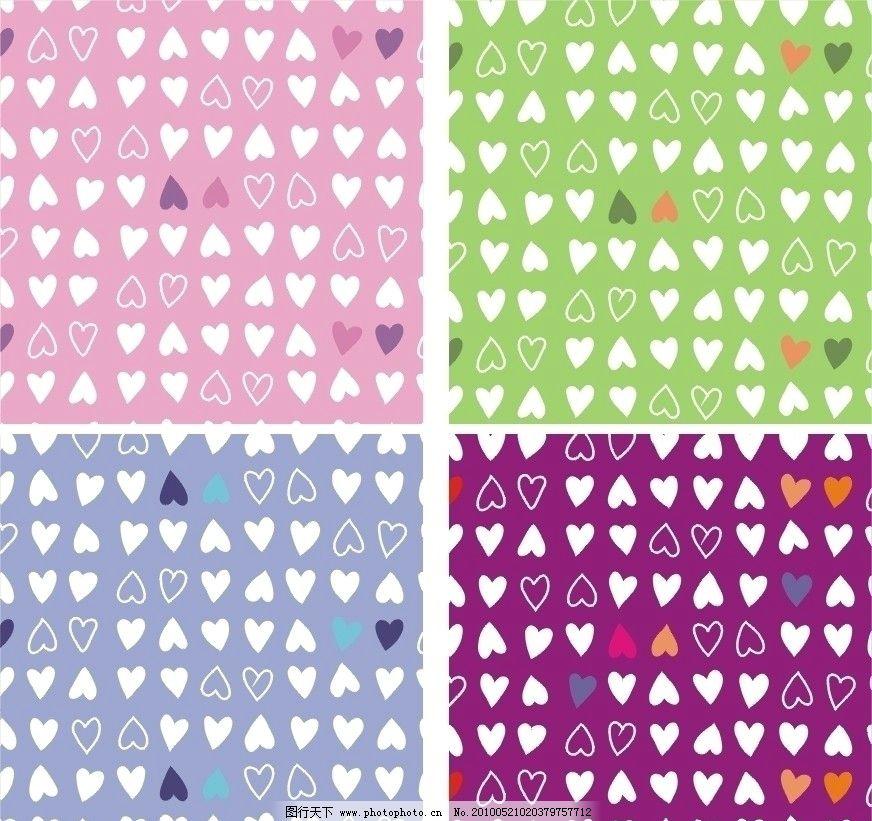 桃心 心 背景 彩色 红色 绿色 蓝色 紫色 矢量 cdr 花纹花边 底纹边框
