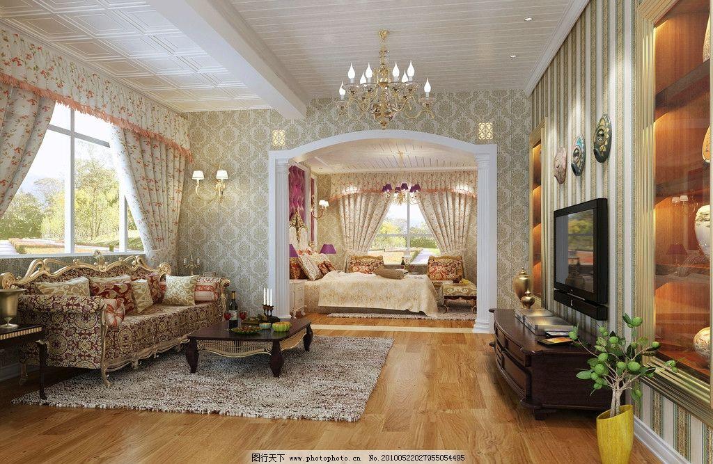 起居室 欧式 沙发 窗帘 吊灯 欧式沙发           室内设计 环境设计