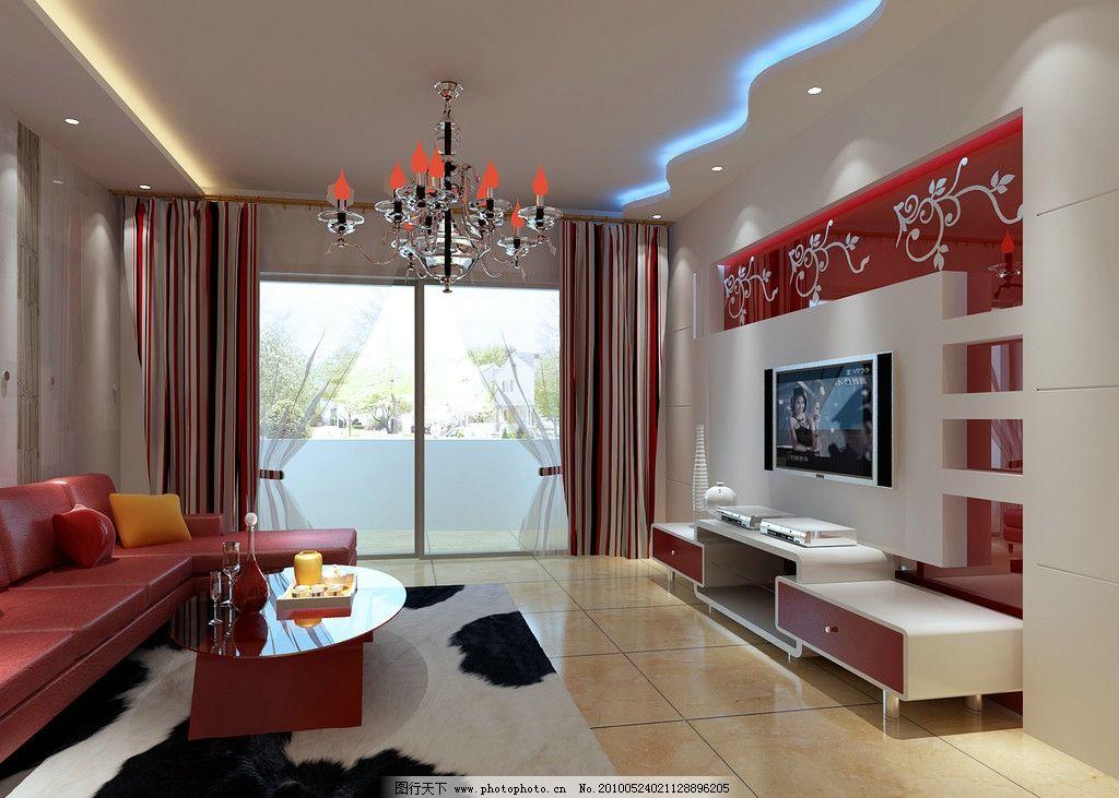 客厅设计 效果图 家装 电视 电视柜 沙发 飘台 主灯 鱼缸 水晶灯
