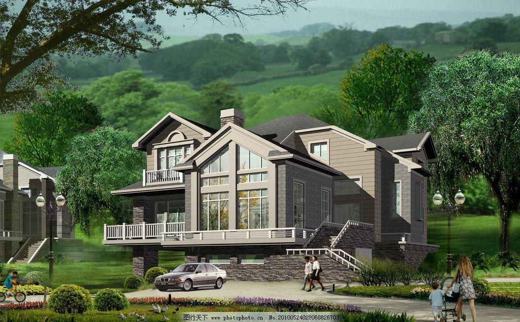 别墅 建筑 效果图 建筑效果图 单体建筑 鸟瞰图 盘 住宅 小区
