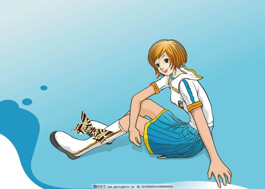 手绘美女 时尚女孩 蝴蝶 漫画人物 女性 女人 动漫人物 动漫动画 设计