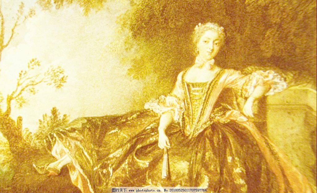 世界名画模板下载 世界名画 名画 名作 绘画 油画 风景画 贵妇 扇子