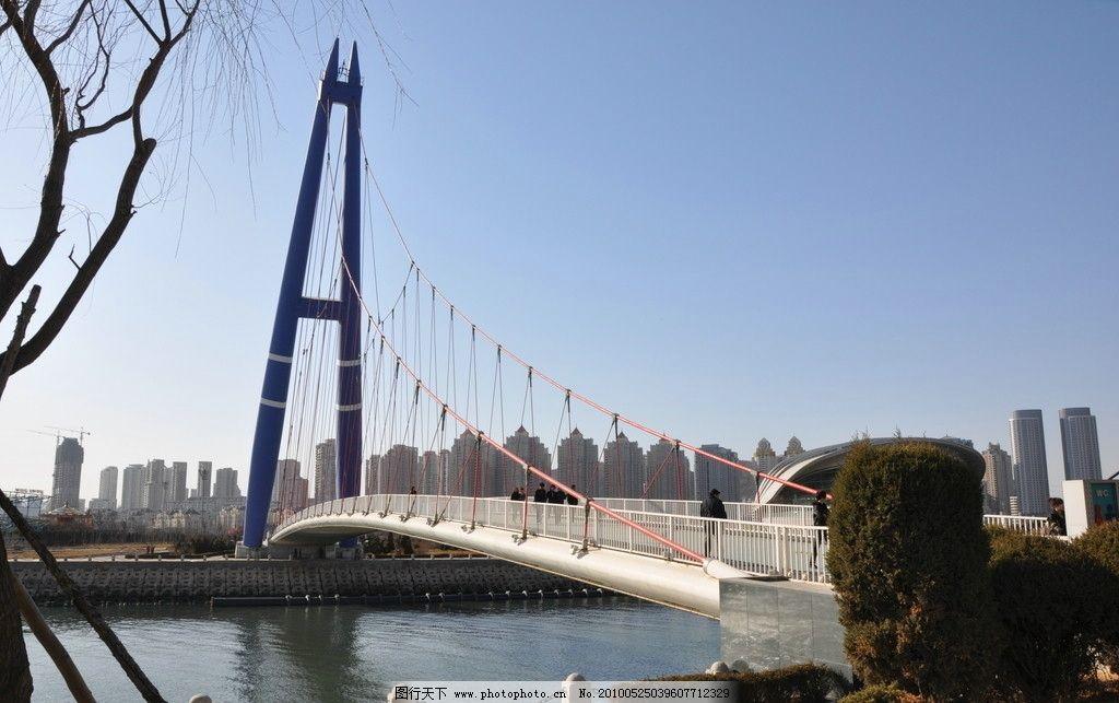 斜拉桥 桥 海水 护栏 树木 建筑 蓝天 广场 雕塑 建筑园林 摄影 300
