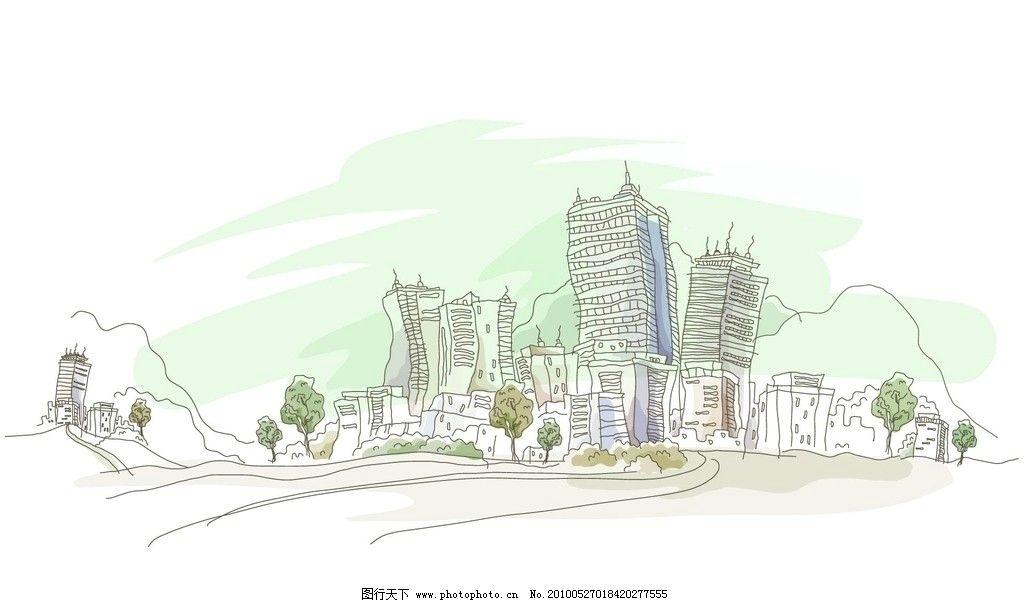 城市风景 风景漫画 城市 手绘 手绘城市 动漫动画 设计 72dpi jpg