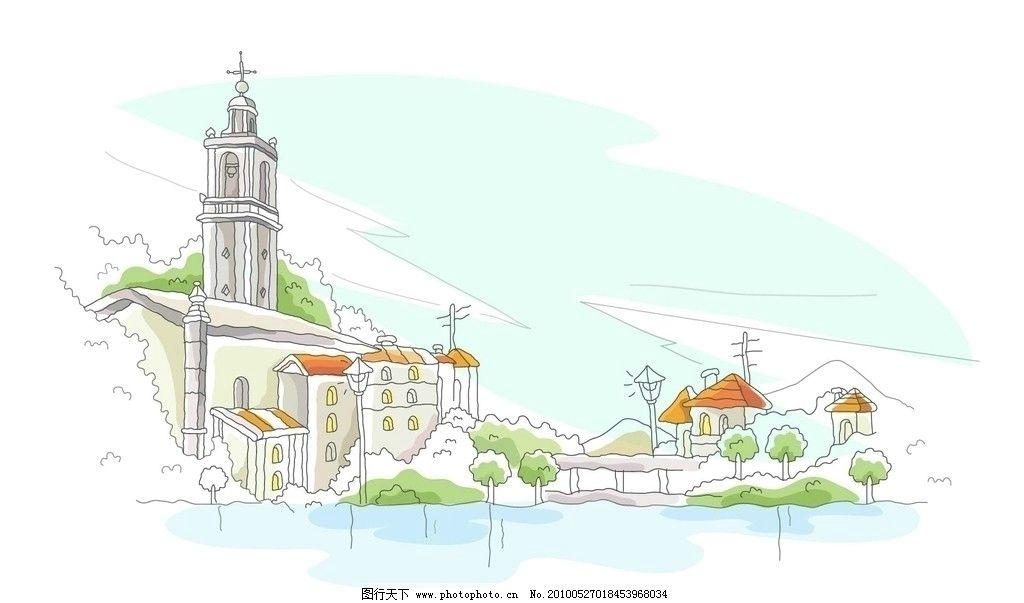 城市'河道手绘线稿
