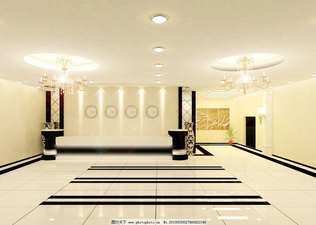 宾馆大厅效果图 宾馆 酒店 大厅        总台 室内设计 环境设计 源