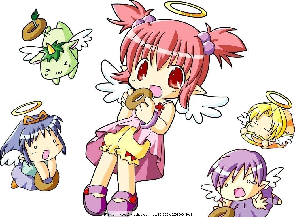 卡通天使美女 天使 女孩 可爱 mm 美眉 小女生 小男生 曲奇饼 惊讶