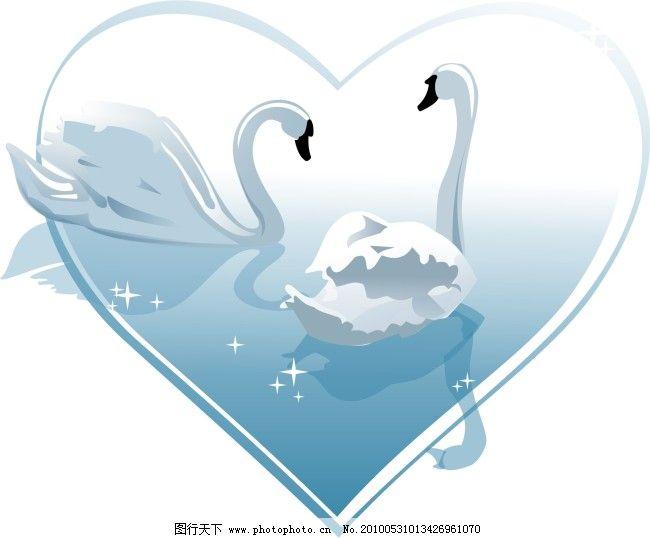 心形白天鹅 心形白天鹅免费下载 节日素材 情人节七夕