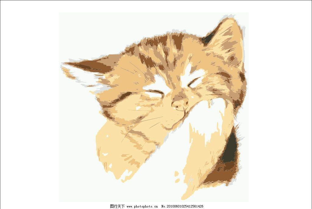 猫咪 动物 小动物 可爱 水彩画 写实 其他生物 生物世界 矢量 cdr