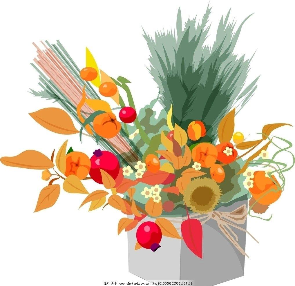 鲜花 蝴蝶结 包装 樱桃 水果 草 叶子 盒子 礼物 可爱 卡通