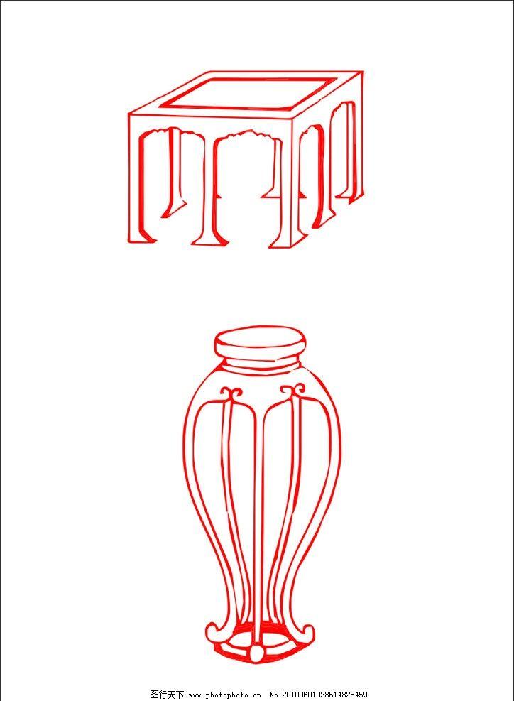 家具家居 家具 家居 椅子 桌子 线条 简笔画 红色家具 喜庆 家居家具